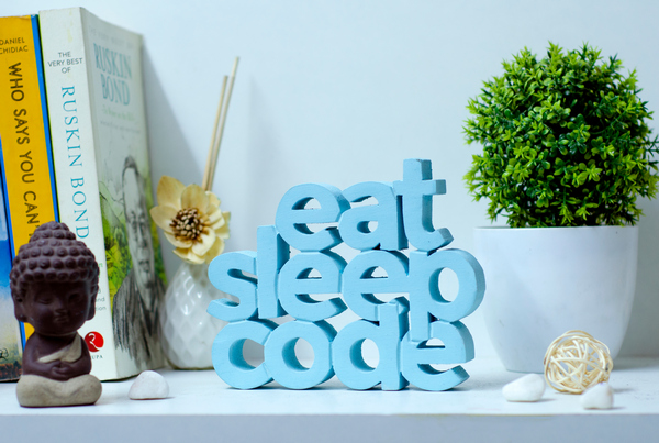 Eat Sleep Code wooden Table top
