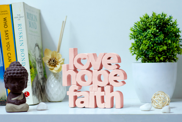 Love Hope Faith wooden tabletop