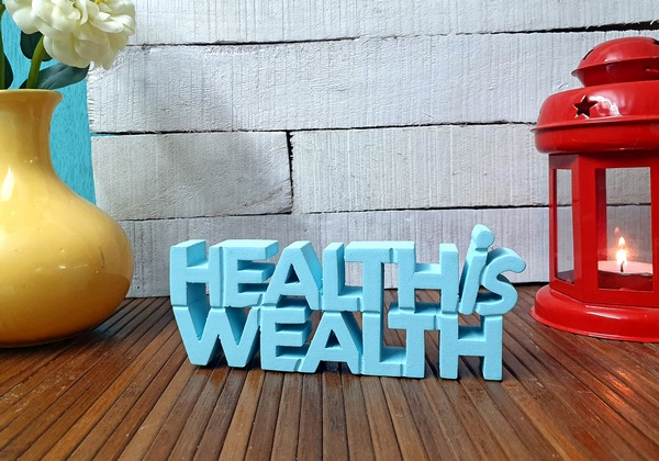 Health Is Wealth wooden tabletop